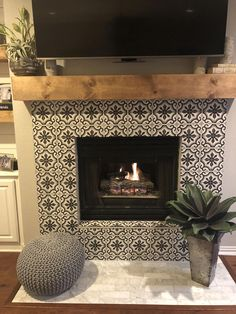 New DIY fireplace ideasNew DIY fireplace ideas diyfireplaceCement tiles make over. Removed the stove and tiled over the brick.Cement tiles make over. Removed the stove and tiled over the brick. Fireplace Tile Surround, Fireplace Update, Farmhouse Fireplace, Home Fireplace, Faux Fireplace, Fireplace Remodel, Fireplace Surrounds, Fireplace Design, Fireplace Ideas