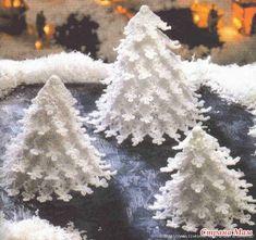 Новогодняя ёлочка и описание. Сказочный лес из вязаных елочек.