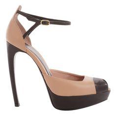 Alexander McQueen     Blush Bi-Colour Platform Peep-Toes