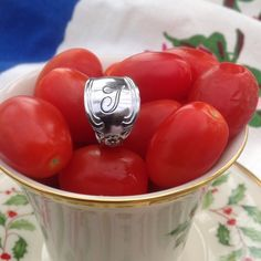 """""""T"""" monogrammed ring. Tomato style! any T's out there? Stainless steel ring with a script monogrammed with a T. Jewelry Rings"""