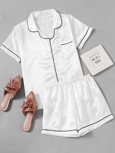 SheIn offers Contrast Piping Satin Pajama Set & more to fit your fashionable needs. Satin Pyjama Set, Satin Pajamas, Pajama Set, Cute Sleepwear, Lingerie Sleepwear, Nightwear, Pajama Outfits, Cute Outfits, Pajama Shorts