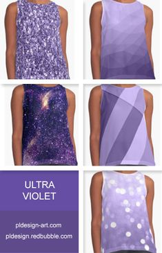 Trendy Pantone color of year 2018 Ultra violet purple sparkles, bokeh, geometric lines, mesh, abstract galaxy women's contrast tank top apparel and more by #PLdesign #style #fashion #apparel @redbubble