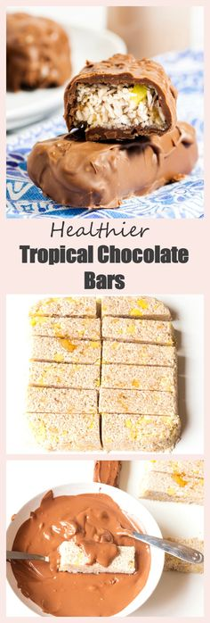 These Tropical Chocolate bars are a healthier version of everyone's favourite coconut chocolate bar. The lightened-up inside is just coconut, banana, pineapple and a touch of lemon juice, whilst the naughtier outside is a layer of creamy milk chocolate. Best Gluten Free Recipes, Good Healthy Recipes, Healthy Treats, Yummy Treats, Chocolate Bar Recipe, Coconut Chocolate, Chocolate Bars, Candy Recipes, Dessert Recipes