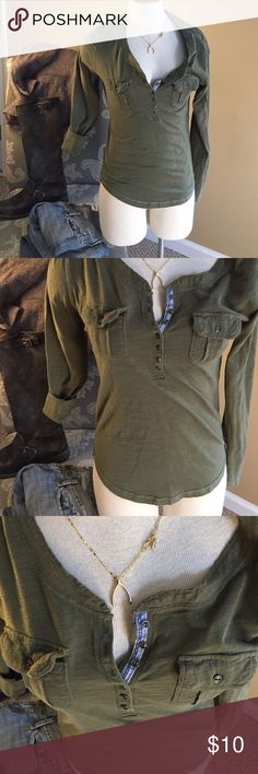 "Aeropostale hunter green every day top Great condition; fitted nicely against mannequin @36"" Bust.  Company logo tag needs to be sewn back or removed.  Letting you choose!  Comfy, Cotton and versatile staple. Aeropostale Tops Tees - Long Sleeve"