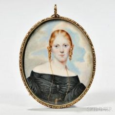 Miniature Portrait on Ivory of a Lady, mid 19th century