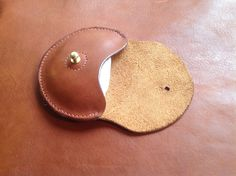 Chestnut hand stitched leather coin purse, available through www.nu-red.com