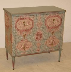 1 3 drawers painted gray fabric covered Braquenié with drawers wrapped in red velvet. Dimensions: L85, P42 x H86 cm x