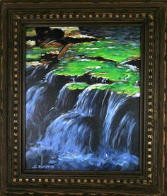 TITLE: Verdent Falls SIZE: 16 x 20 (image) with frame 23.5 x 27.5 MATERIALS: Stretched canvas FINISH: Varnish FRAMED: Handmade  If you are interested in this composition but prefer a different size or colors, please contact me.