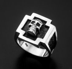 Sterling Silver Cross Skull Ring-Sterling Silver by MrSmithJewelry