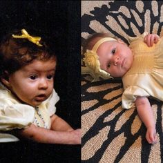 Me on the left and Charley on the right #sameagesamedress #2monthsold