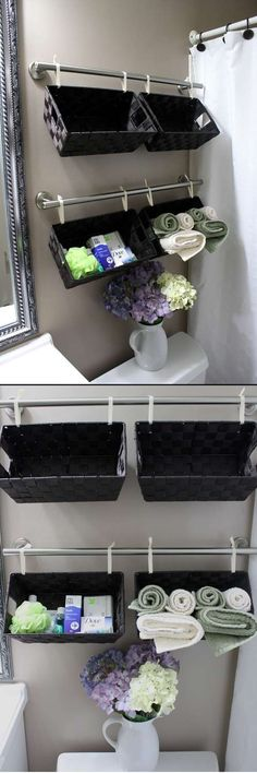 Hang baskets on rails to store towels and shower supplies.