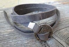 Bracelet homme - bracelet géométrique des hommes - bracelet gris des hommes - cuir bracelet pour hommes - bijoux