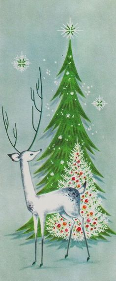 Winter Wonderland Retro Christmas Card Reindeer with Trees                                                                                                                                                                                 More