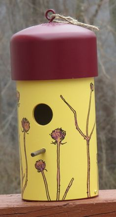 Birdhouse made with PVC each illustrated with an original Drawing
