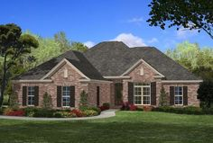 Browse nearly ready-made house plans to find your dream home today. Floor plans can be easily modified by our in-house designers. Brick House Plans, House Plans One Story, New House Plans, Story House, French Country House Plans, Modern Farmhouse Plans, French Cottage, Acadian Style Homes, Home Decoracion