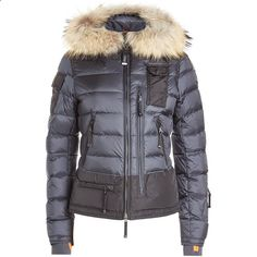 Parajumpers Skimaster Quilted Down Jacket ($989) ❤ liked on Polyvore featuring outerwear, jackets, blue, blue jackets, quilted jacket, long down jacket, cardigan shrug and long shrugs