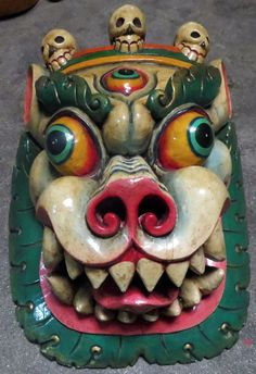 Foo Dog Mask Wood Nepal Tibet Tibetan Buddha Buddhist Lion Green Blue Temple | eBay