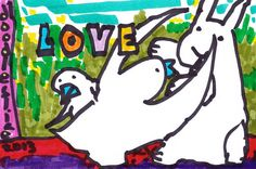original drawing Love Defended two birds a bunny by doodleslice, $50.00