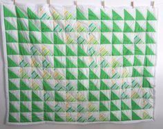 Patchwork quilt for the #home #readytoship #green #yellow #white #arrows