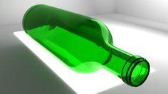 Blender 3D wine bottle over light by yodamon