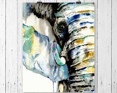 ELEPHANT PRINT, Elephant art, Elephant Watercolour, Safari Art, Safari watercolour, Elephant painting, African Elephant, African Art