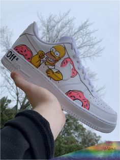 Simpsons Air Force One by ethancustoms Custom Painted Shoes, Custom Shoes, Custom Af1, White Nike Shoes, Vans Shoes, Zapatillas Nike Air Force, Nike Shoes Air Force, Aesthetic Shoes, Cute Sneakers
