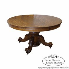 Hastings Antique Solid Oak Round Claw Foot Dining Table