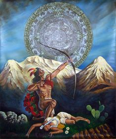 Popocatepetl Iztaccihuatl legend, a beautiful love legend about these beautiful volcanoes in Mexico, plus a collection of legends and myths from around the world. Amor Chicano, Chicano Love, Chicano Art, Mexican Artwork, Mexican Folk Art, Fantasy Kunst, Fantasy Art, Aztec Paintings, Jesus Helguera
