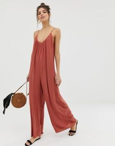 ASOS DESIGN low back jumpsuit in crinkle