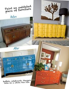 Paint an outdated piece of furniture a fun color to add some pizzazz to any room!