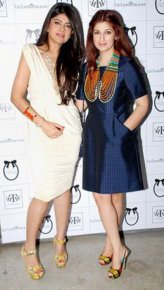 Laila Motwane and Twinkle Khanna at a store launch.
