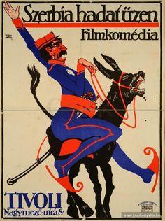 Weiss Antal, Szerbia hadat üzen. Filmkomédia. 1914 Flat Color, Illustrations And Posters, Blues, Comic Books, Big Big, Serbian, Donkey, History, Comics