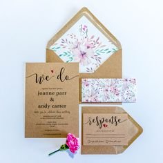 Bespoke Wedding Invitation Sets - non foiled Bespoke Wedding Invitations, Floral Wedding Invitations, Wedding Stationery, Stationery Design, Design Show, Envelope Liners, Rustic Wedding, Dates, Place Card Holders