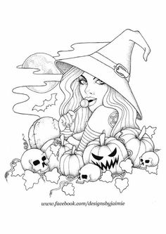Witch and pumpkins Witch Coloring Pages, Halloween Coloring Pages, Adult Coloring Book Pages, Printable Adult Coloring Pages, Fairy Coloring, Doodle Coloring, Coloring Pages To Print, Coloring Sheets, Coloring Books