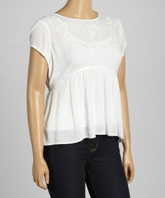 This White Embroidered Cutout Babydoll Top - Plus by C.O.C. is perfect! #zulilyfinds