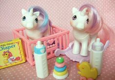Vintage G1 My Little Pony. 1984 Baby Glory and Moondancer. I had everything shown here, and I wish I still did. G;)
