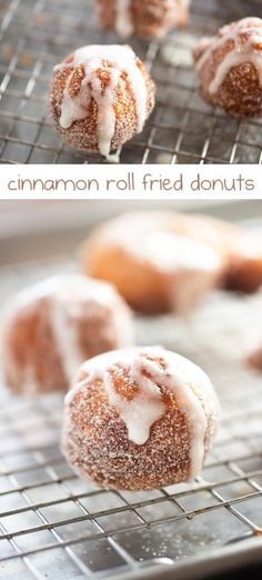 Simple donuts tossed in cinnamon and sugar and drizzled with a sweet and sticky glaze!| Buns In My Oven