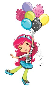 Strawberry Shortcake holding her pretty colorful balloons Strawberry Shortcake Pictures, Strawberry Shortcake Coloring Pages, Strawberry Shortcake Characters, Strawberry Shortcake Party, Art Drawings For Kids, Art For Kids, Diy Tie Dye Techniques, Disney Princess Babies, Birthday Clipart