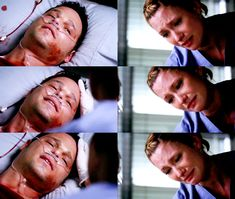 ALEX: Izzie.  LEXIE: Alex, it's Lexie. Alex.  ALEX: Iz. I'm sorry. Don't go. We got married. Please don't go.  LEXIE: I'm not going anywhere.  ALEX: You came back for me, Iz.  LEXIE: I came back.  ALEX: Don't ever leave me. Don't ever leave me again.  LEXIE: I won't. I won't ever leave. We're always going to be together, okay? Alway  6X24 Death and all his friends  :'( :'(