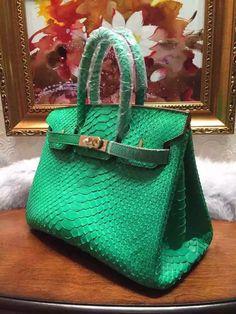 737dbea2ed Hermes Birkin30 35 Imported Python Leather Bag Green(GHW)
