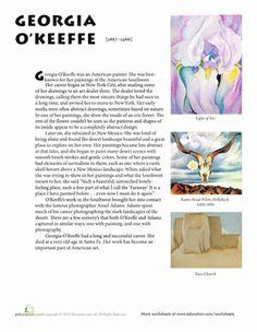 @Kara Rice Art History Worksheets | Fifth Grade Art History Worksheets: Georgia O'Keeffe