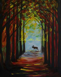 Moose Painting Bull Moose Forest Pine Trees Woods Cabin Decor Rustic Wildlife Wilderness Mountain Landscape Leslie Allen Fine Art