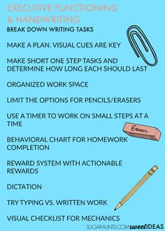 Tips and tricks to help improve handwriting through improving executive functioning skills. Great ideas for teachers, occupational therapists and parents. Teaching Handwriting, Improve Your Handwriting, Handwriting Practice, Handwriting Activities, Teaching Writing, Task Analysis, Homework Organization, Handwriting Analysis, Working Memory