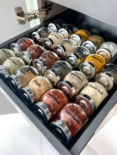 These little jars from ikea are a great way to keep your spice drawer organized. Read more about our Vellore Village project and how it was kept organized. Ikea Spice Jars, Ikea Jars, Spice Jar Labels, Dry Food Storage, Spice Storage, Jar Storage, Kitchen Organization Pantry, Spice Organization, Organized Kitchen