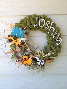 Jungle Animal burlap wreath for a baby boy