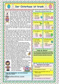 A nice story about the ill Easter Rabbit and how the other animals help him to hide the Easter eggs. Comprehension exercises and KEY included. Comprehension Exercises, Reading Comprehension Activities, Reading Worksheets, German Language Learning, Teaching English, Learn German, Learn English, Easter Worksheets, Printable Worksheets