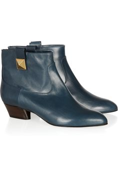 Net-A-Porter > Marc Jacobs Leather Ankle Boots   #StackedHeel #BlueLeather