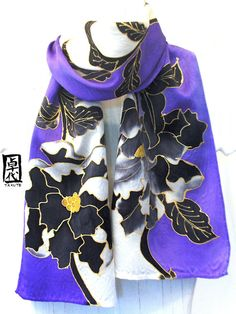 (Omg. * -* This would work perfectly for an idea I had for a redesigned custom Ranmaru cosplay... - Mue ☆) Hand Painted Black Peonies Purple Japanese Silk Scarf