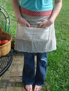 Ticking and Feedsack Half Apron. $25.00, via Etsy.