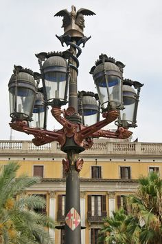 Barcelona - Plaça Reial  The lanterns were designed by Antoni Gaudí